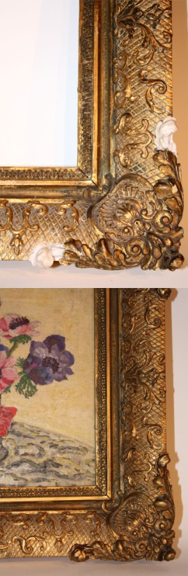 Late 18th c. French gilded gold leaf frame