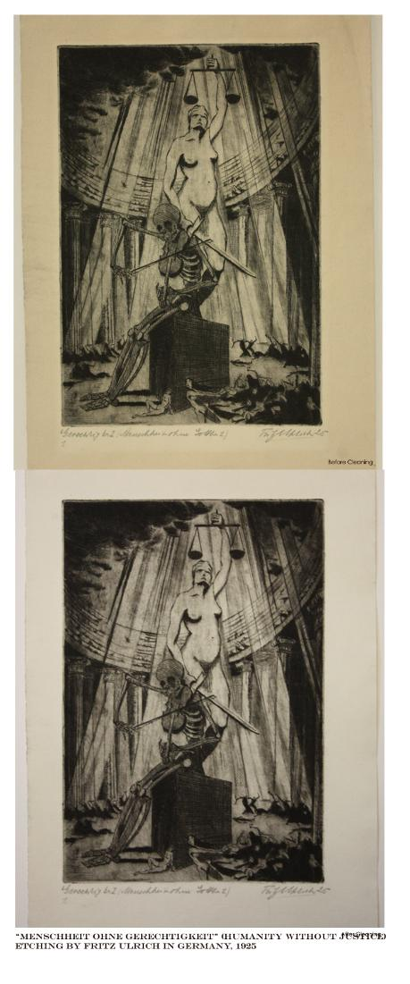 German etching print on paper; restoration process