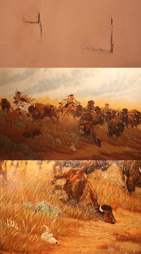 Acrylic painting of Native American hunting scene, signed Marchand; painting restoration process