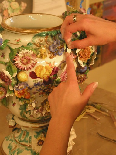 18th c. Meissen, Germany porcelain restoration process.