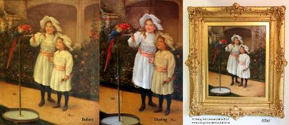 Oil painting restoration varnish removal process